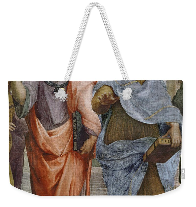 Iconic Weekender Tote Bag featuring the painting Aristotle And Plato Detail Of School Of Athens by Raffaello Sanzio of Urbino
