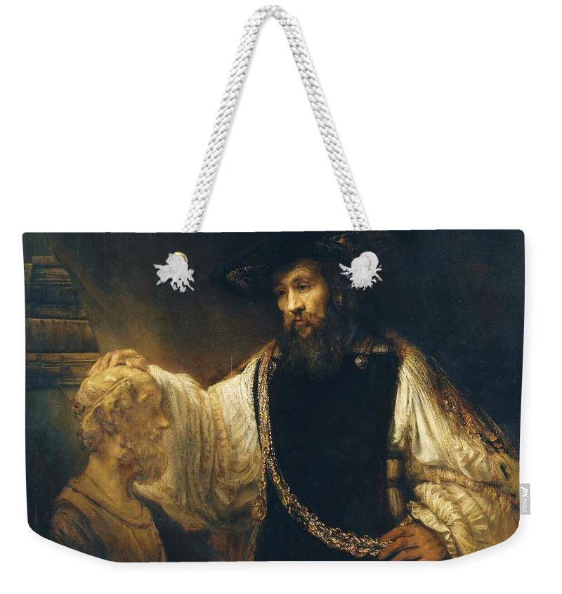 U.s.pd Weekender Tote Bag featuring the painting Aristotle With Bust Of Homer by Pg Reproductions
