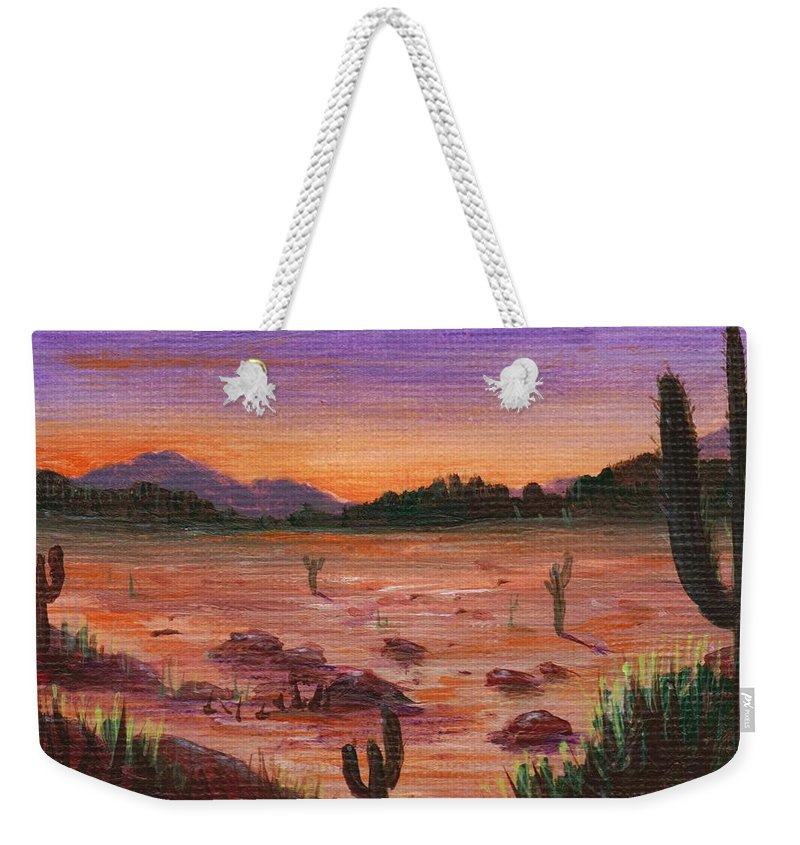 Calm Weekender Tote Bag featuring the painting Arizona Desert by Anastasiya Malakhova