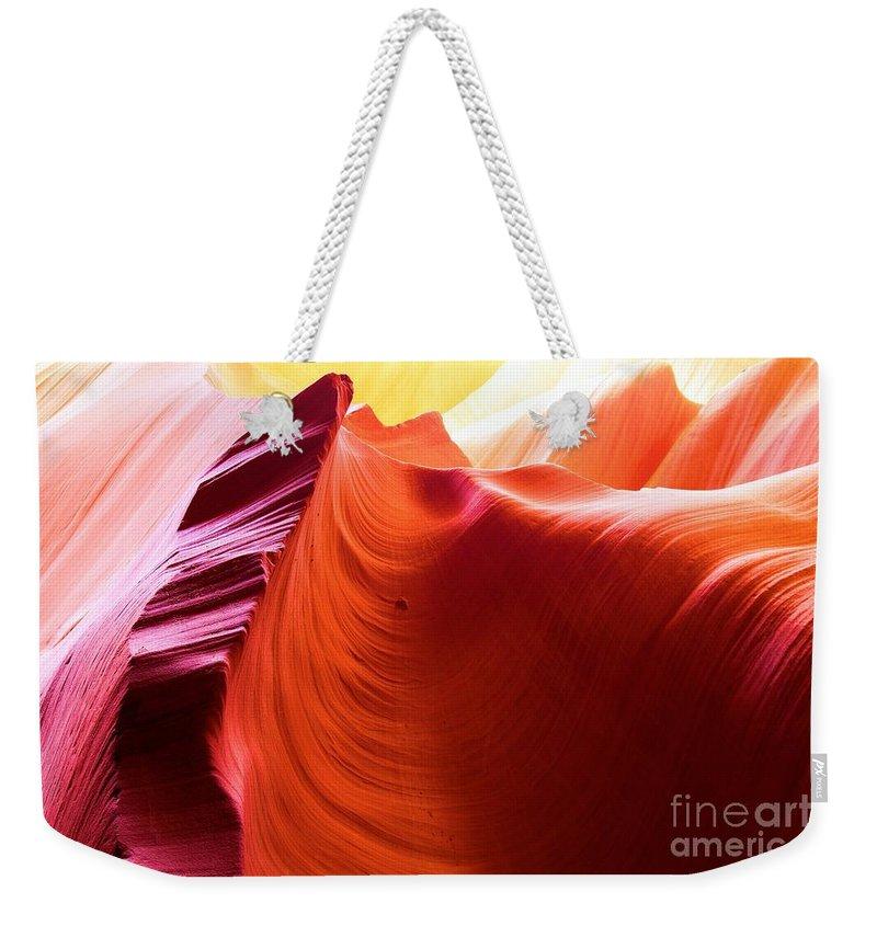 Arizona Slot Canyon Weekender Tote Bag featuring the photograph Arizona Desert Rainbow by Adam Jewell