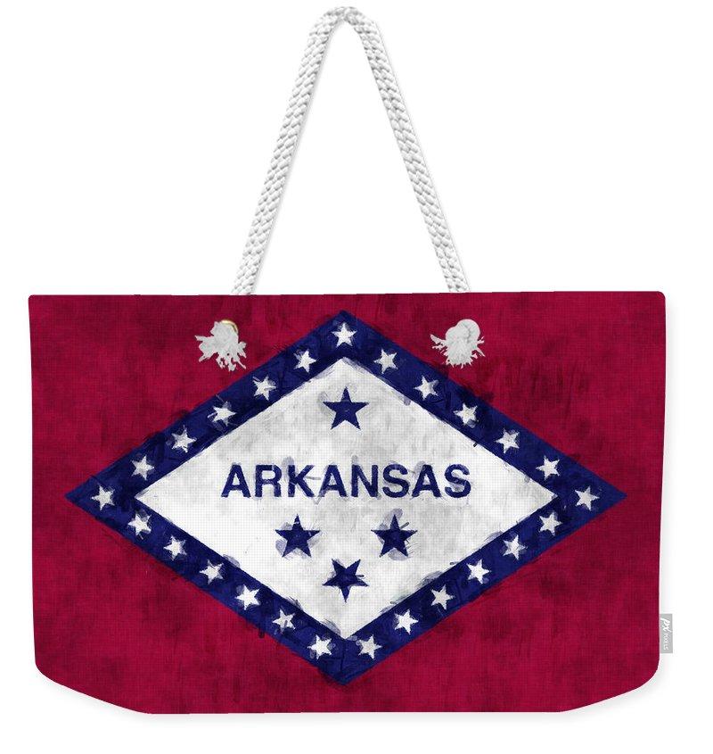Arkansas Weekender Tote Bag featuring the digital art Arkansas Flag by World Art Prints And Designs