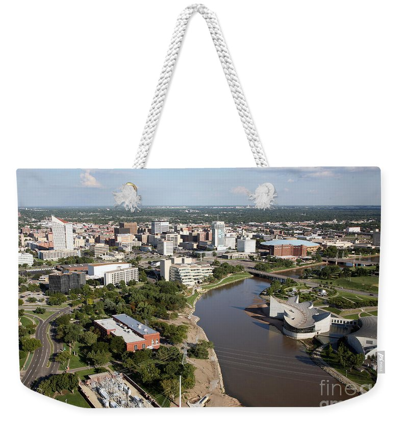 Aerial Weekender Tote Bag featuring the photograph Arkansas River In Wichita by Bill Cobb