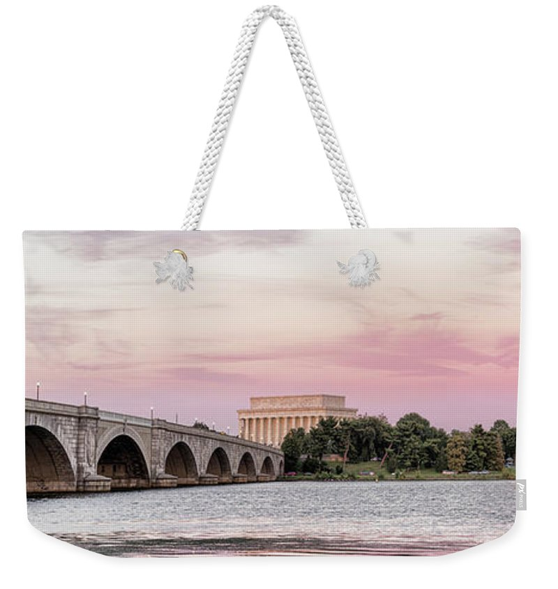 Photography Weekender Tote Bag featuring the photograph Arlington Memorial Bridge With Lincoln by Panoramic Images