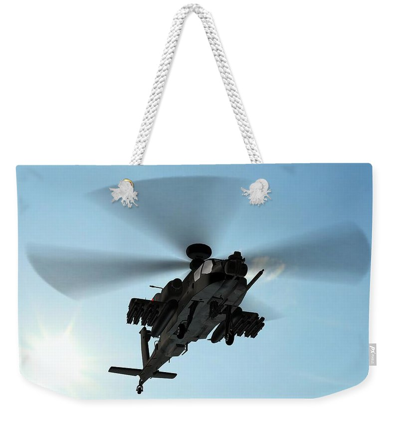 Wind Weekender Tote Bag featuring the photograph Armed Longbow Apache Helicopter In by Bestgreenscreen