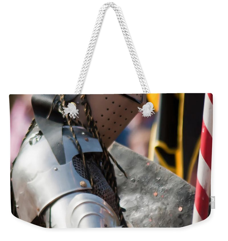 Armor Weekender Tote Bag featuring the photograph Armored Joust Knight by Alex Grichenko