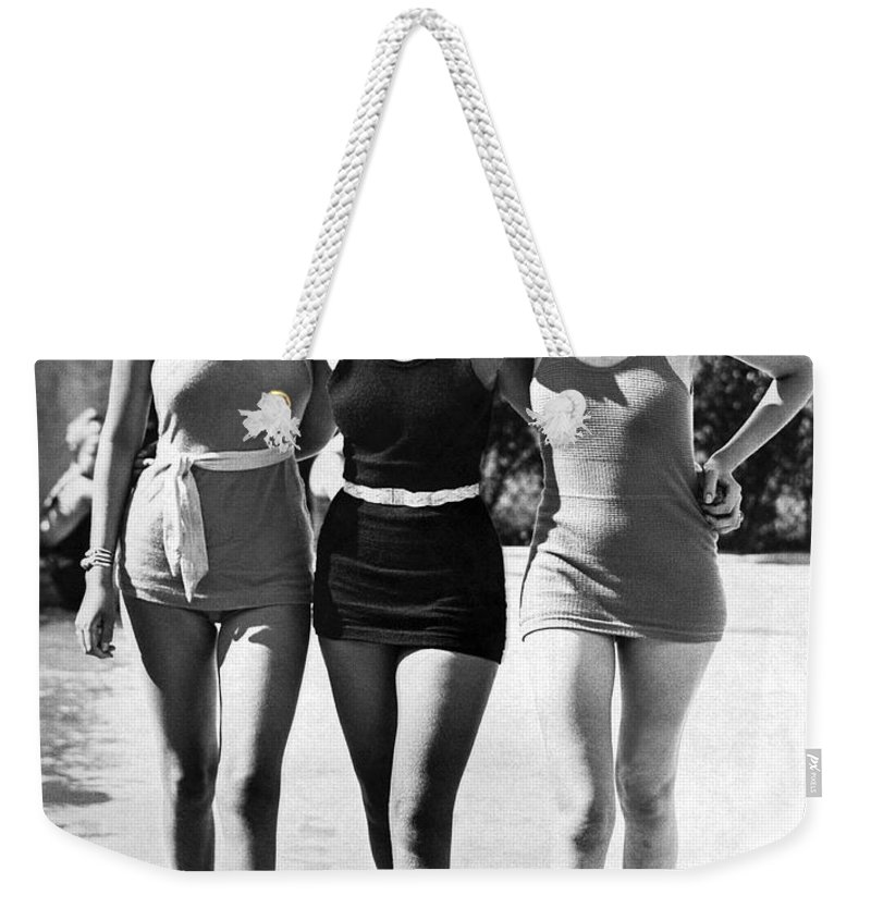 1930s Weekender Tote Bag featuring the photograph Army Bathing Suit Trio by Underwood Archives