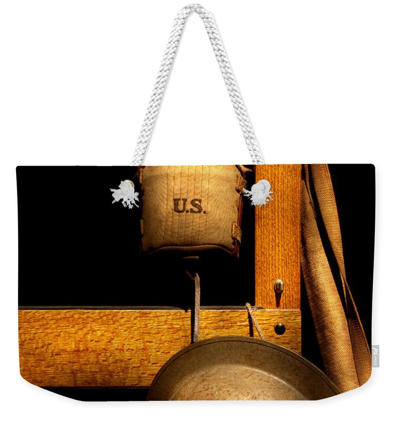 Soldier Weekender Tote Bag featuring the photograph Army - Life In The Military by Mike Savad