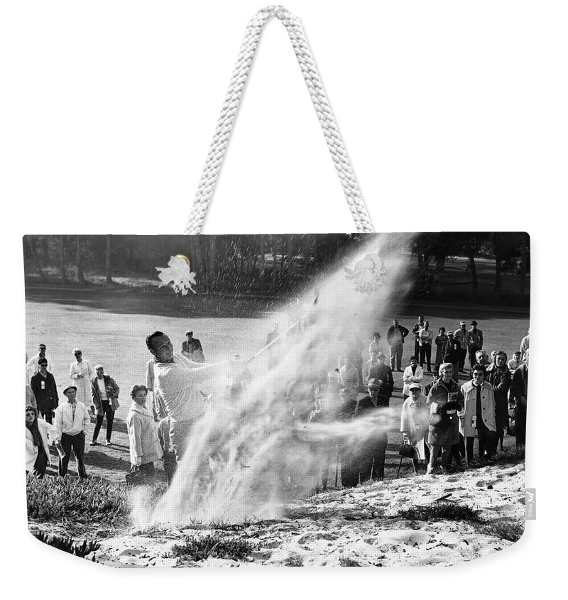 Bing Crosby Weekender Tote Bag featuring the photograph Arnold Palmer At Pebble Beach California Rey Ruppel Photo Circa 1955 by California Views Archives Mr Pat Hathaway Archives