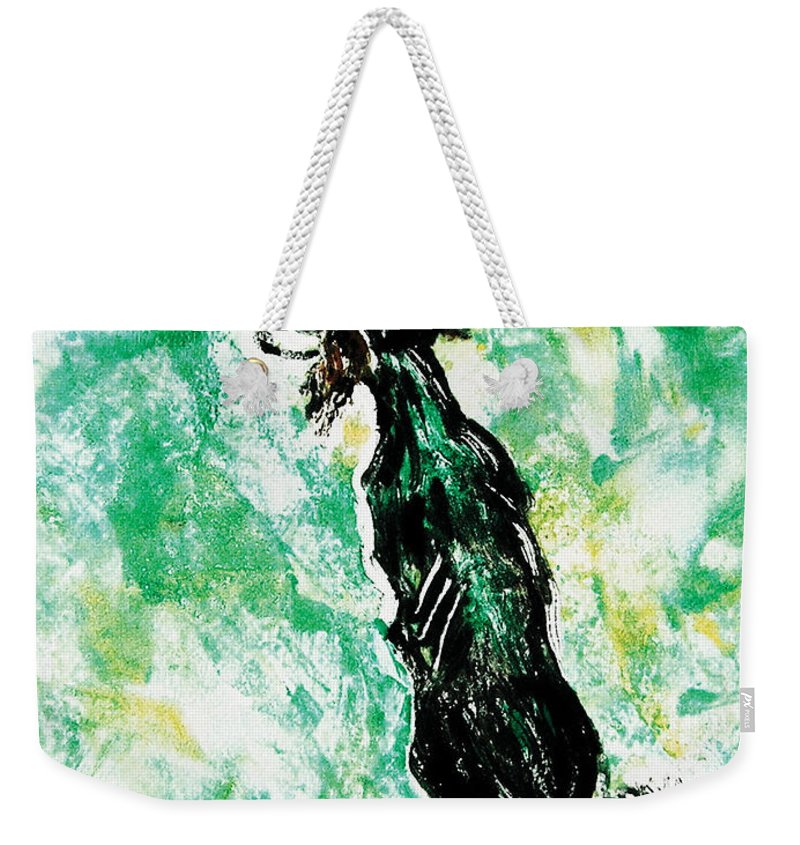 Saluki Weekender Tote Bag featuring the mixed media Around The Bend by Cori Solomon
