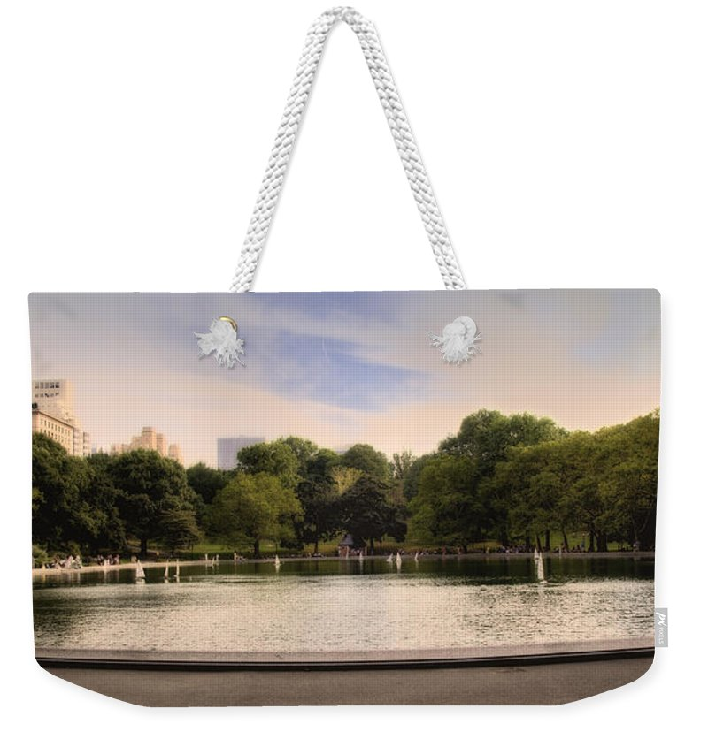 Pond Weekender Tote Bag featuring the photograph Around The Central Park Pond by Madeline Ellis