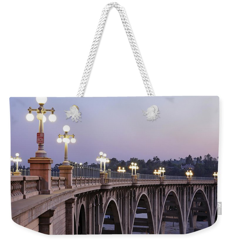 Arch Weekender Tote Bag featuring the photograph Arroyo Seco Bridge Pasadena by S. Greg Panosian