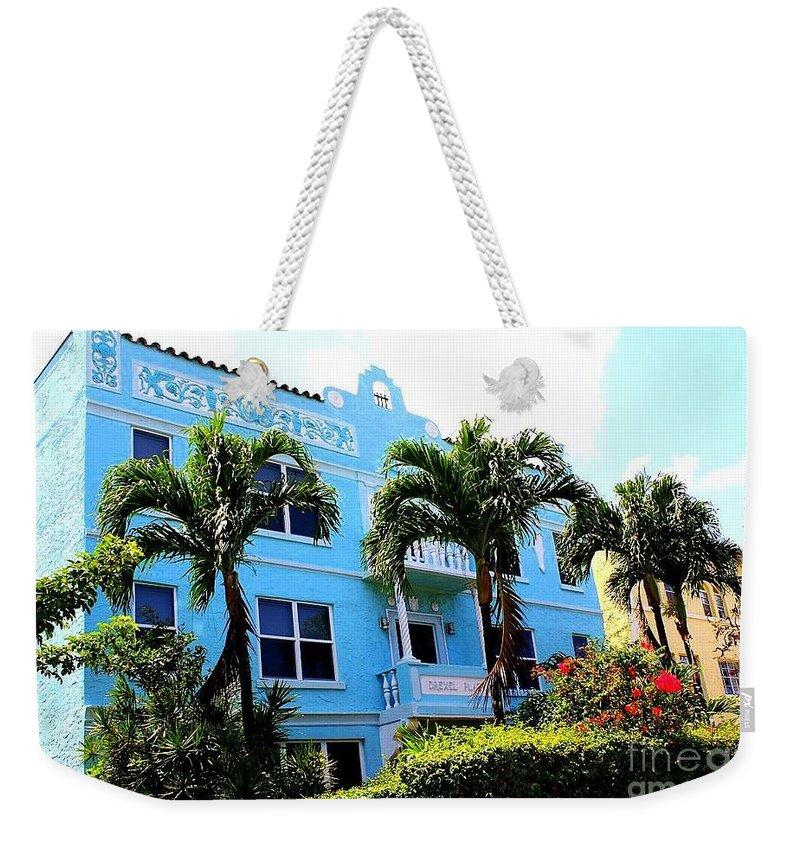 Art Deco Hotel In Miami Beach - Art Deco - Miami Hotels - Landscapes - Florida Weekender Tote Bag featuring the photograph Art Deco Hotel In Miami Beach by Dora Sofia Caputo Photographic Design and Fine Art
