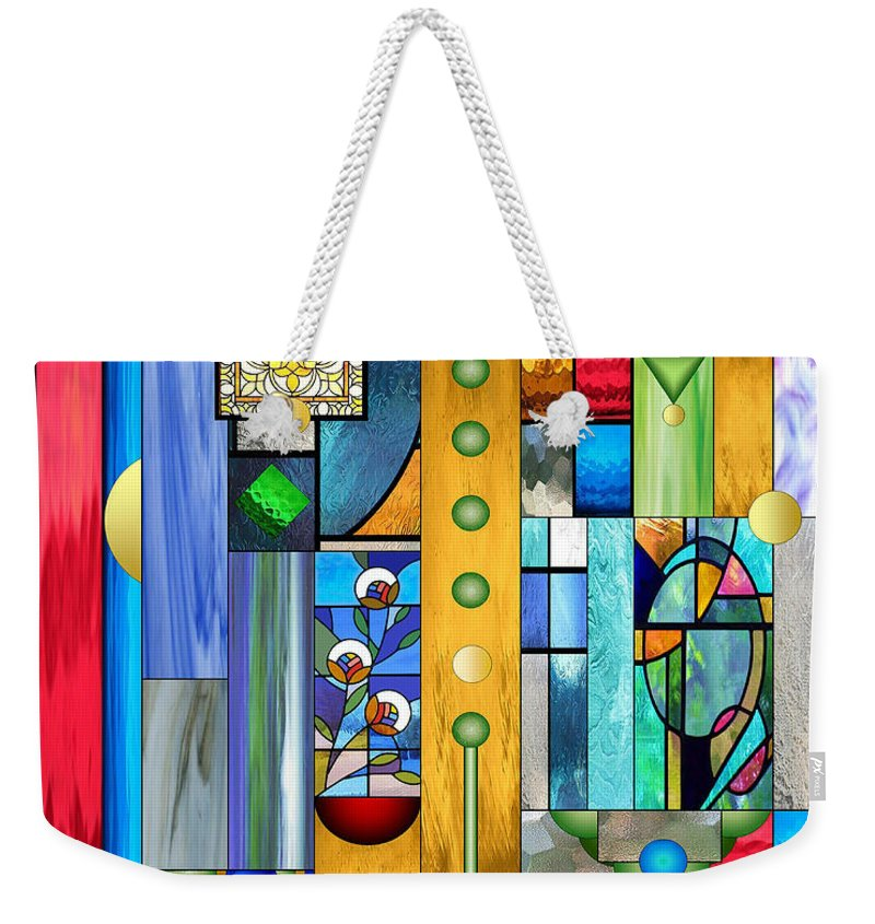 Art Deco Stained Glass Weekender Tote Bag featuring the mixed media Art Deco Stained Glass 1 by Ellen Henneke