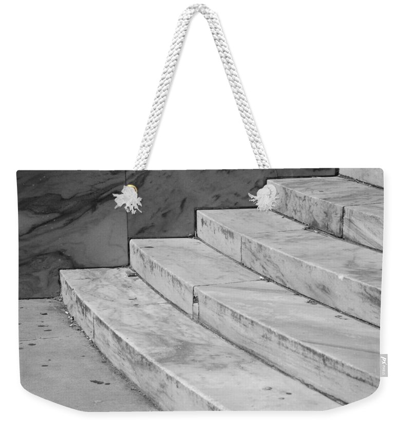 Architecture Weekender Tote Bag featuring the photograph Art Deco Steps In Black And White by Rob Hans