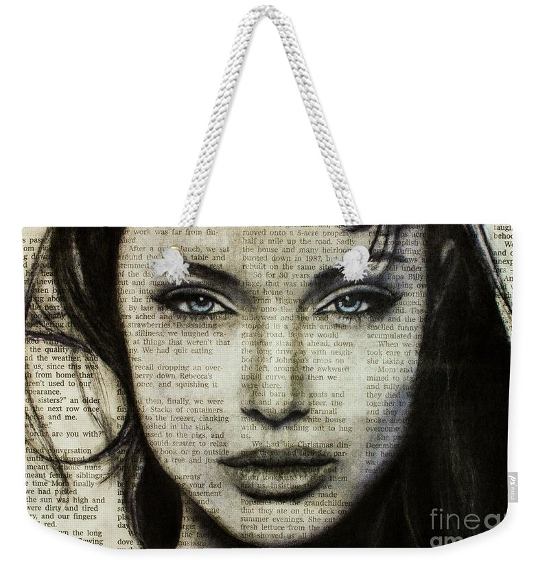 0dbf2e55a8df Charcoal Weekender Tote Bag featuring the drawing Art In The News 44- Angelina  Jolie by