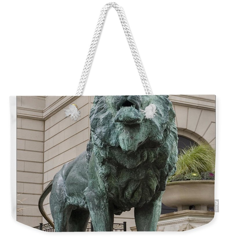 Chicago White Sox Weekender Tote Bag featuring the photograph Art Institute Lion by Patrick Warneka