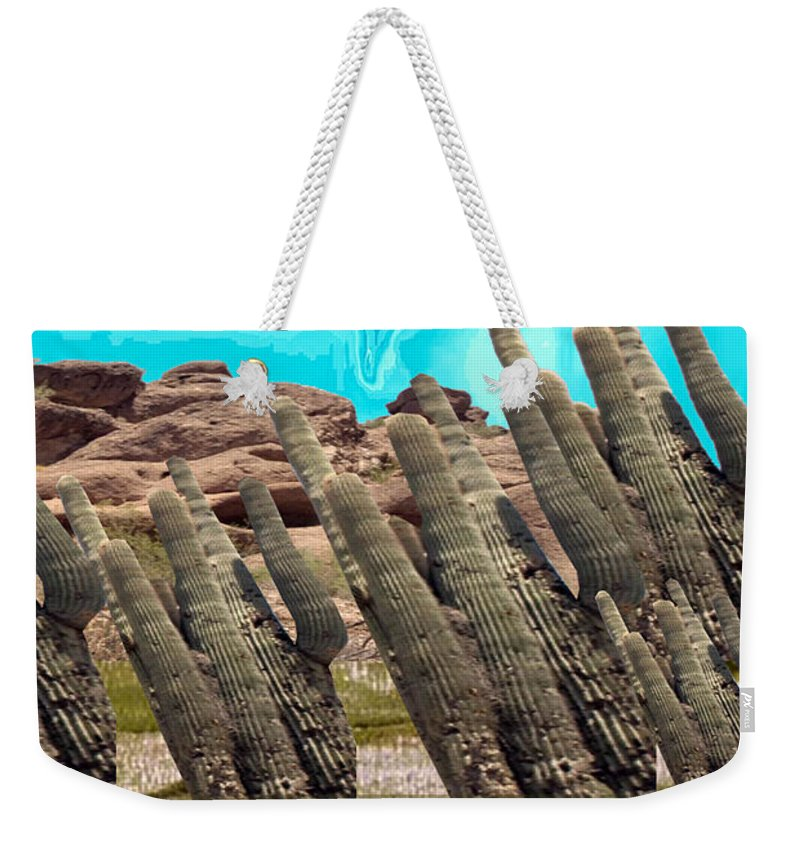 Succulent Weekender Tote Bag featuring the mixed media Art No.1900 American Landscape Cactus Stone Mountains And Skyview By Navinjoshi Artist Toronto Canad by Navin Joshi