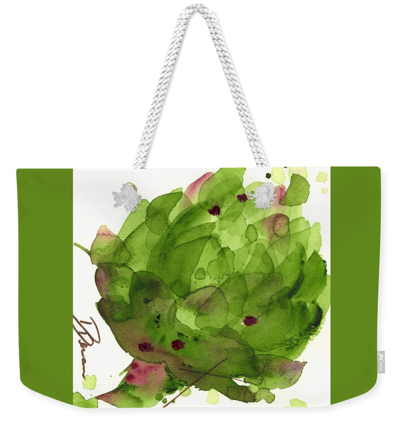 Modern Botanical Watercolor Weekender Tote Bag featuring the painting Artichoke II by Dawn Derman