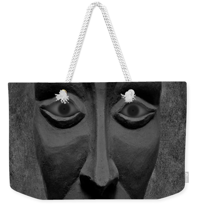 Mask Weekender Tote Bag featuring the photograph Artificial Intelligence Entity Bw by David Dehner