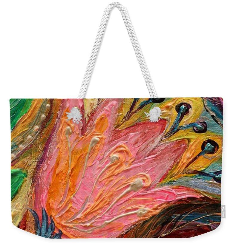 Jewish Art Prints Weekender Tote Bag featuring the painting Artwork Fragment 93 by Elena Kotliarker