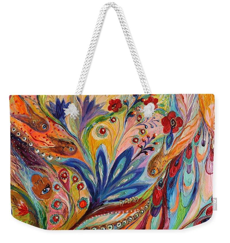 Judaica Naive Spiritual Art Weekender Tote Bag featuring the painting Artwork Fragment 94 by Elena Kotliarker