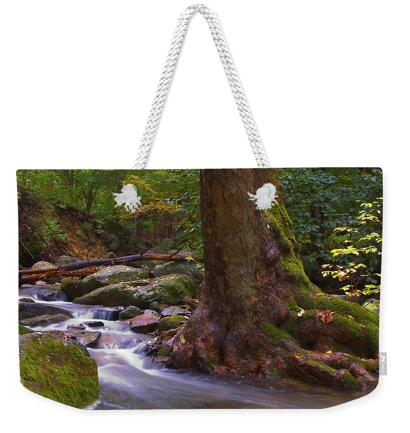 River Weekender Tote Bag featuring the photograph As The River Runs by Karol Livote