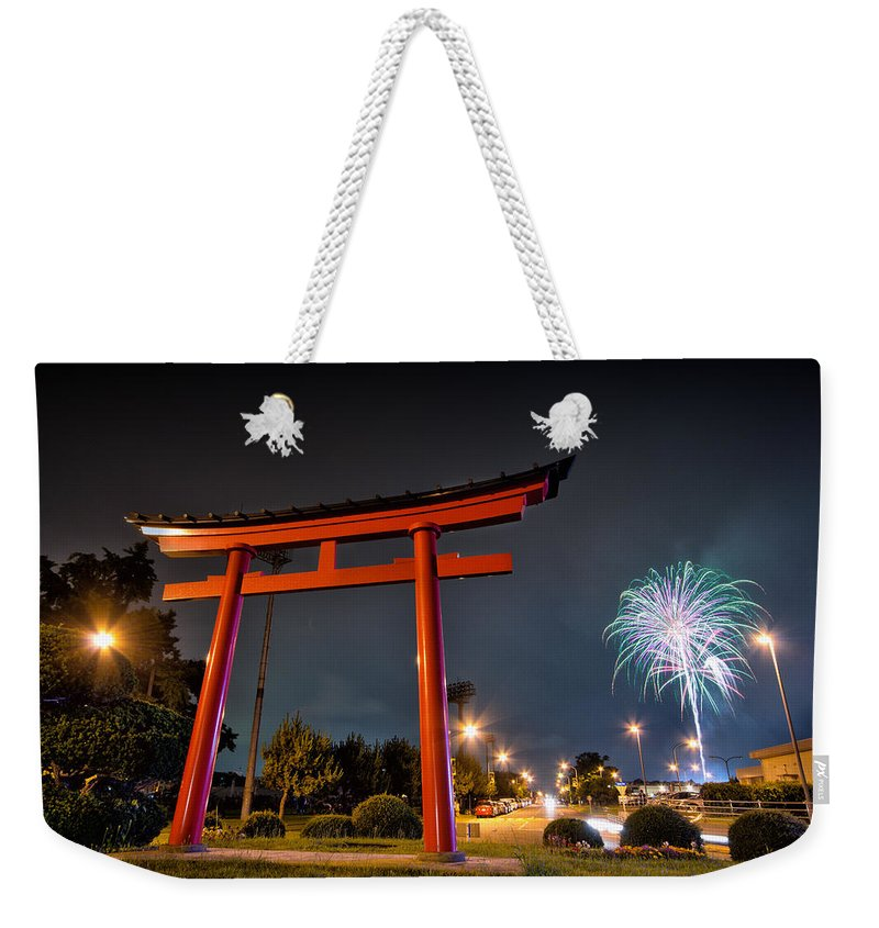 Fireworks Fire Year Celebration Work Holiday Celebrate Christmas Night Explosion Colourful New Colours Happy Festival Background Event Explode Bright Party Anniversary Festive Abstract Fun Light Sky Beatiful Salute July Day Weekender Tote Bag featuring the photograph Asian Fireworks by John Swartz