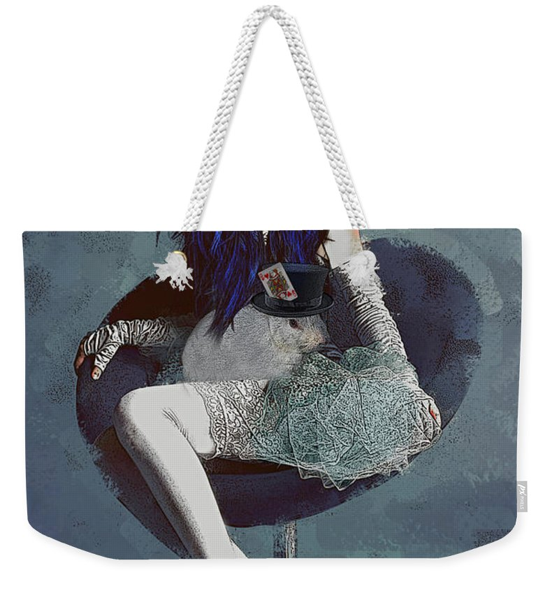 Alice Weekender Tote Bag featuring the digital art Ask Alice by Galen Valle