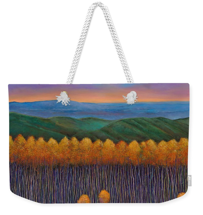Autumn Aspen Weekender Tote Bag featuring the painting Aspen Perspective by Johnathan Harris