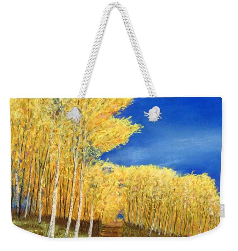 Aspen Weekender Tote Bag featuring the pastel Aspen Road by George Burr