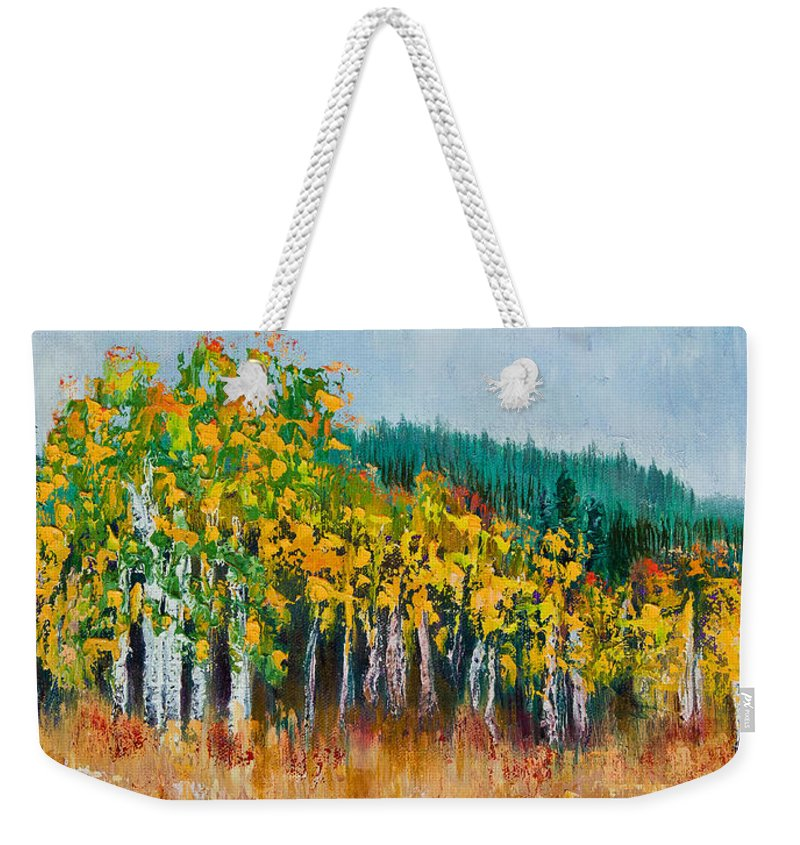 Aspens Weekender Tote Bag featuring the painting Lothlorien by Margaret Bobb