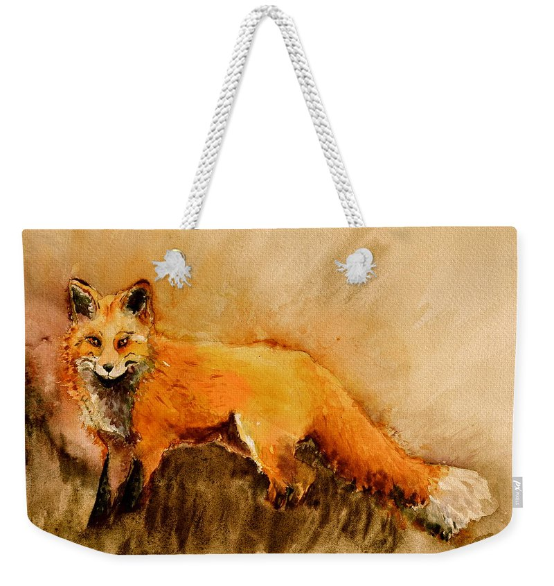 Fox Weekender Tote Bag featuring the painting Assessing The Situation Antiqued by Beverley Harper Tinsley
