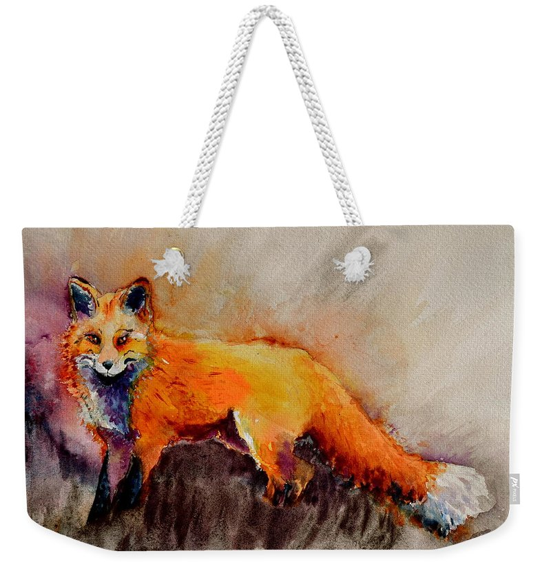Fox Weekender Tote Bag featuring the painting Assessing The Situation by Beverley Harper Tinsley