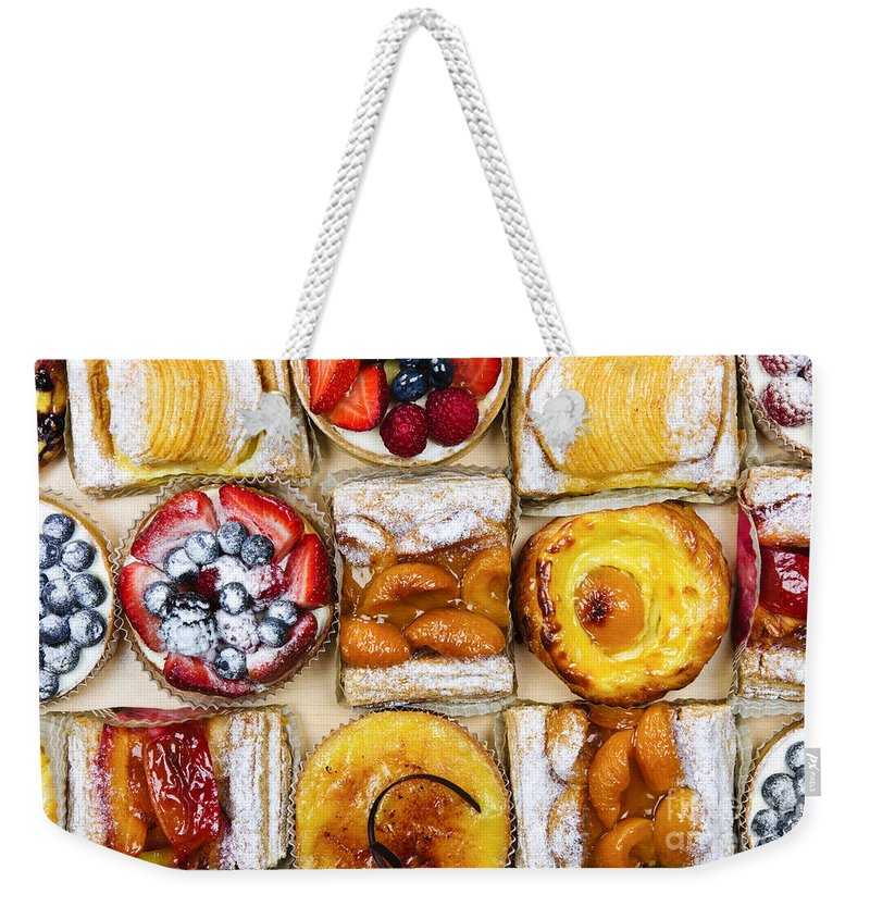 Pastries Weekender Tote Bag featuring the photograph Assorted Tarts And Pastries by Elena Elisseeva