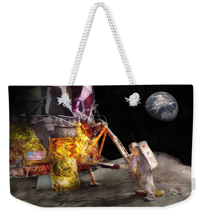 Astro Weekender Tote Bag featuring the photograph Astronaut - One Small Step by Mike Savad