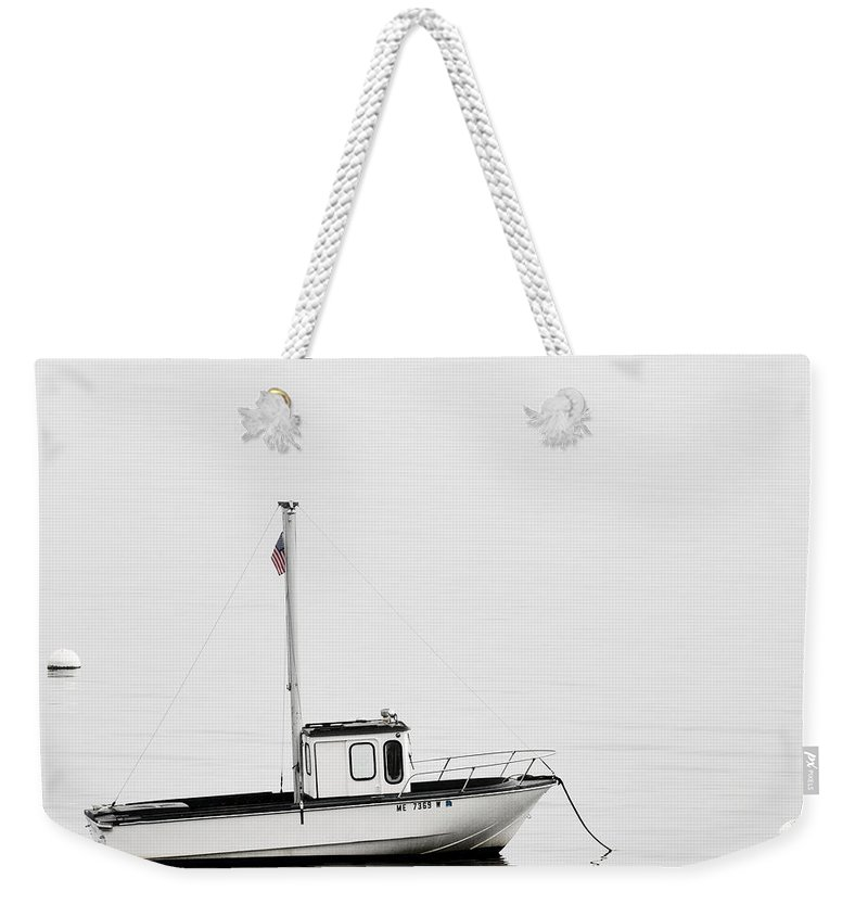 Boat Weekender Tote Bag featuring the photograph At Anchor Bar Harbor Maine Black And White Square by Carol Leigh