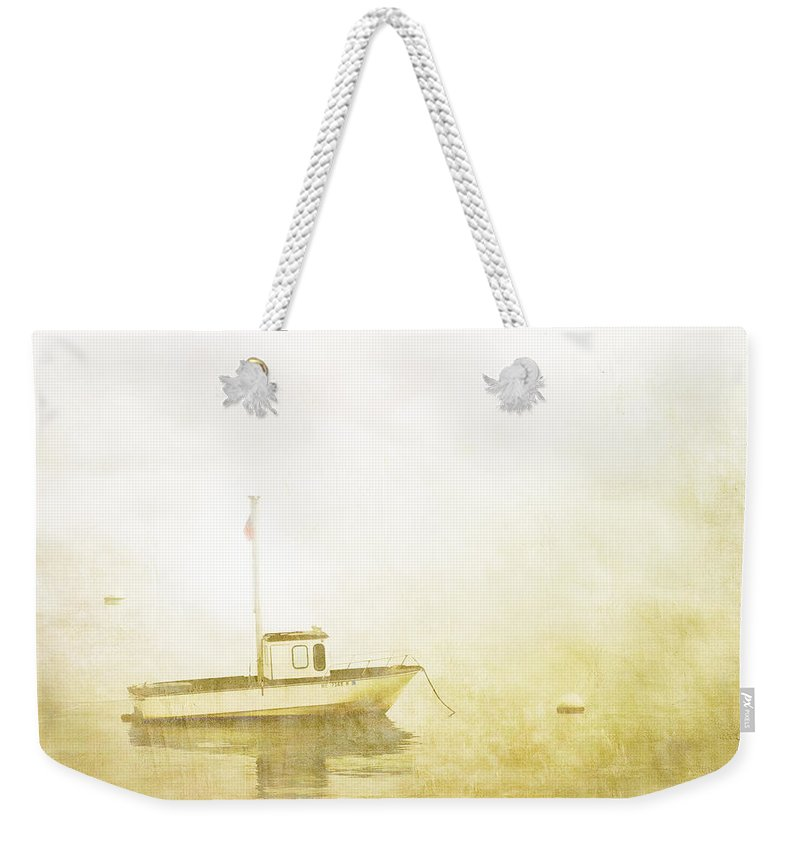 Boat Weekender Tote Bag featuring the photograph At Anchor Bar Harbor Maine by Carol Leigh