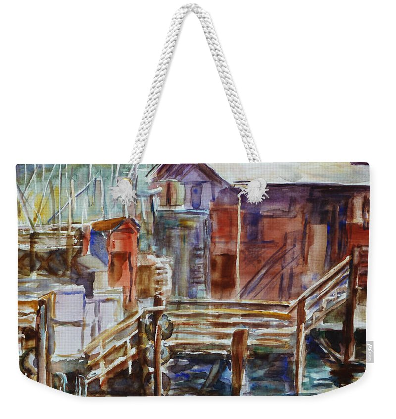 Landscape Weekender Tote Bag featuring the painting At Monterey Wharf Ca by Xueling Zou