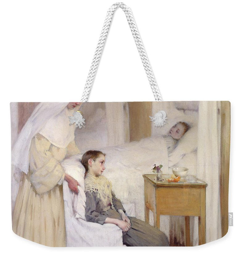 At Notre-dame Du Perpetuel Bon Secours Hospital Weekender Tote Bag featuring the painting At Notre-dame Du Perpetuel Bon Secours Hospital by Henri Jules Jean Geoffroy
