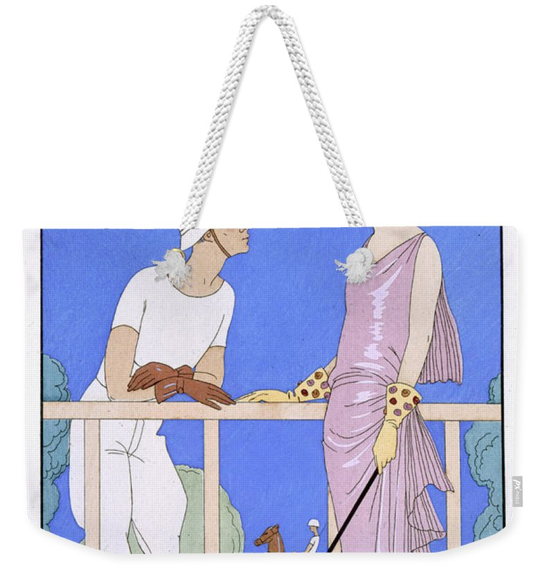 Au Polo Weekender Tote Bag featuring the painting At Polo by Georges Barbier