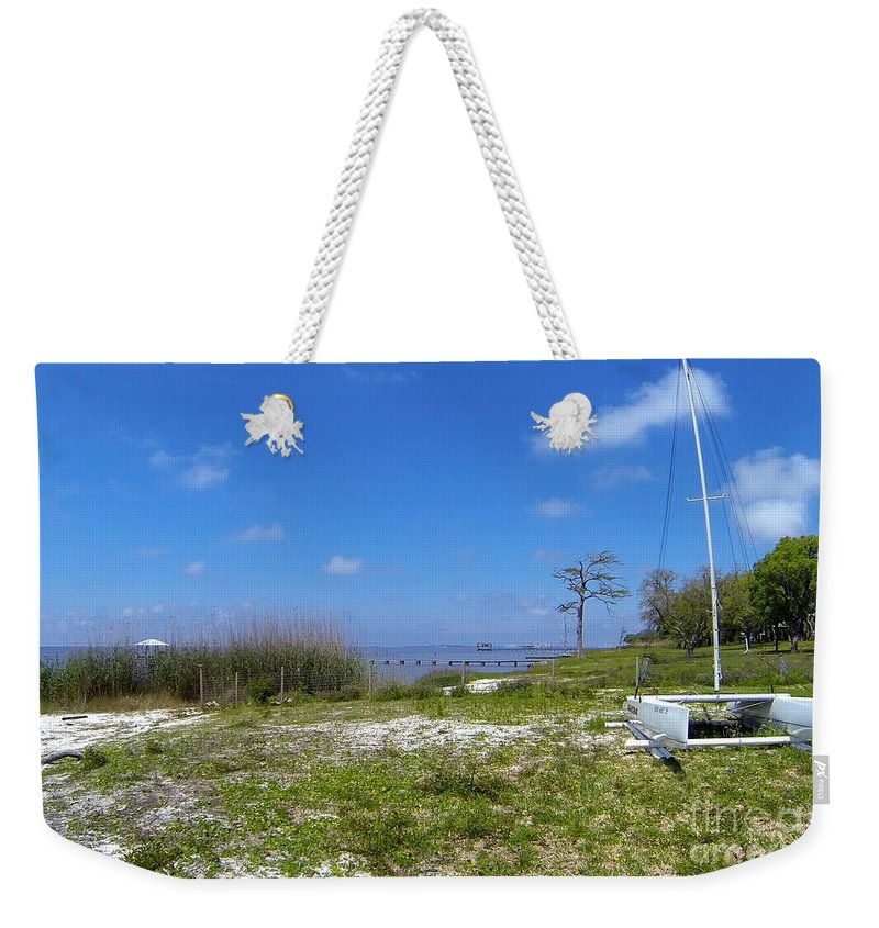 Sailboat Weekender Tote Bag featuring the photograph At Rest by Christina McKinney