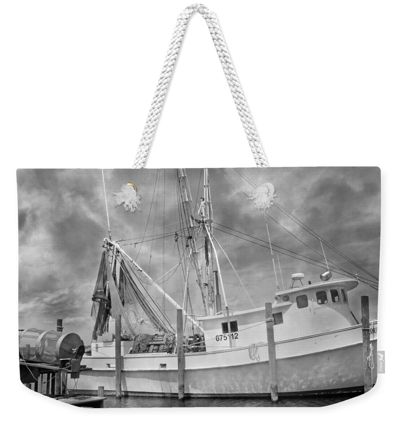 Ship Weekender Tote Bag featuring the photograph At Rest In The Harbor by Betsy Knapp