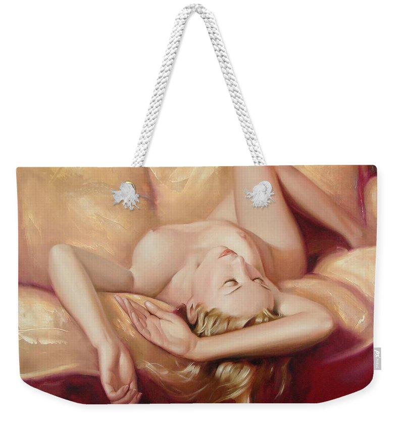 Oil Weekender Tote Bag featuring the painting At rest by Sergey Ignatenko