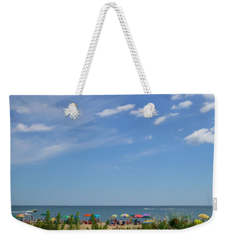 Summer Weekender Tote Bag featuring the photograph At The Beach 2 by Ellen Paull