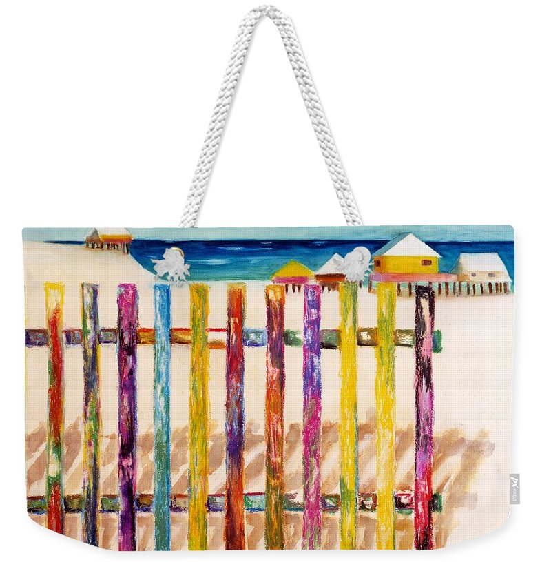 Beach Weekender Tote Bag featuring the painting At The Beach by Frances Marino