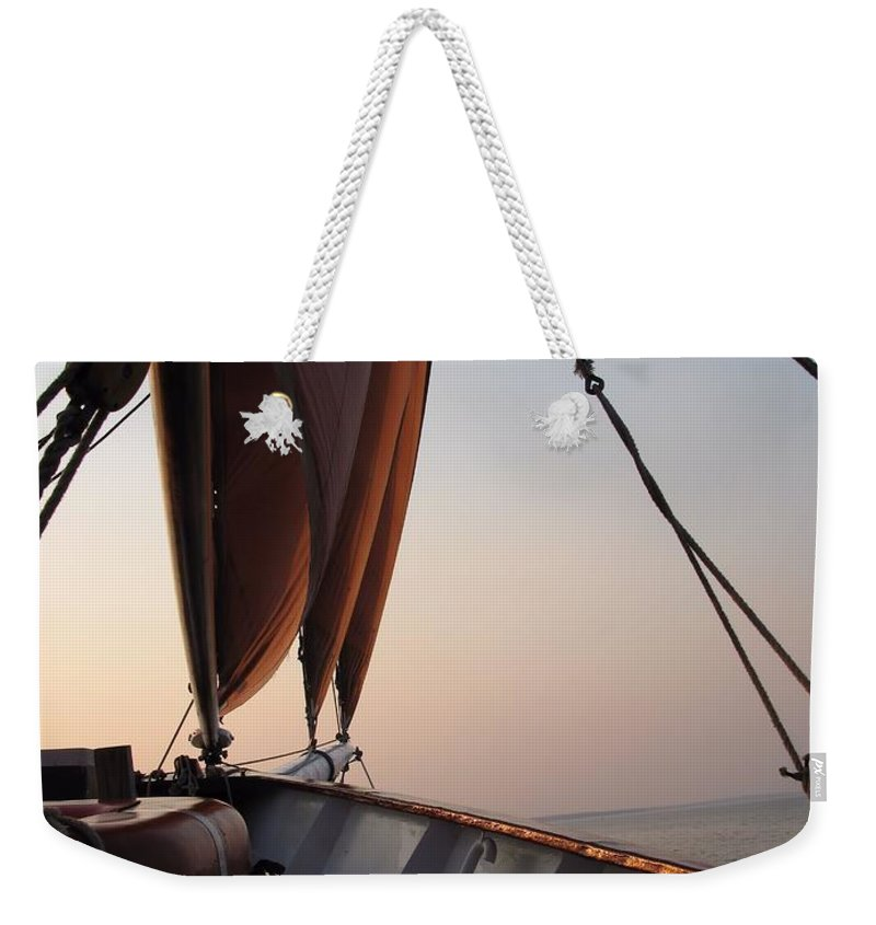 Sails Weekender Tote Bag featuring the photograph At The Bow by Robert McCulloch