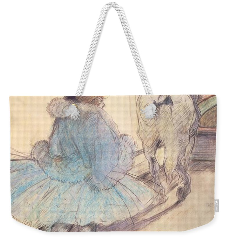 Entrance; Big Top; Performer; Horse; Female; Trick Rider; Tutu; Audience; Spectators; Post-impressionist; Dancer Weekender Tote Bag featuring the painting At The Circus Entering The Ring by Henri de Toulouse Lautrec