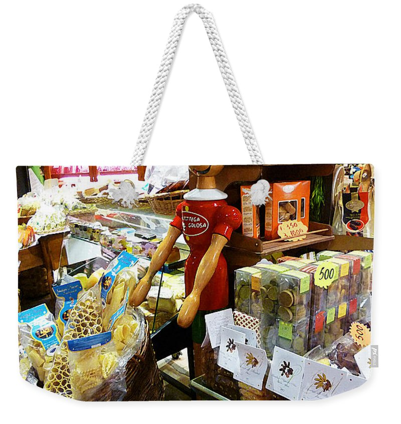 Market Weekender Tote Bag featuring the painting At The Florence Market by Irina Sztukowski