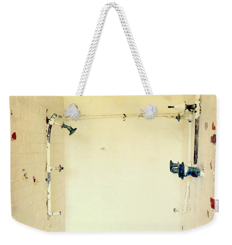 Atalaya Shower Weekender Tote Bag featuring the photograph Atalaya Castle Shower by Kathy Barney