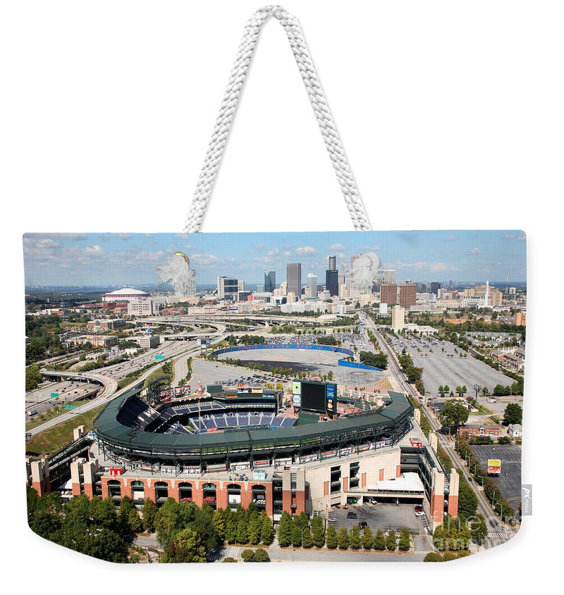 Aerial Weekender Tote Bag featuring the photograph Atlanta by Bill Cobb